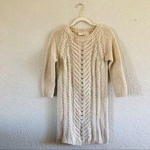 Zara Cream Cable Knit Long Sweater Tunic